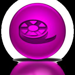 046763-pink-metallic-orb-icon-sports-hobbies-film-reel